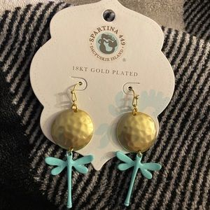 Spartina 449 18kt plated dragon fly earrings new